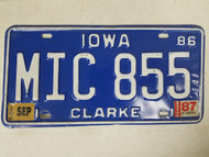 1986 Iowa Clarke County License Plate MIC 855