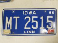 1986 Iowa Linn County License Plate MT 2515