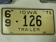 1971 Iowa Montgomery County Trailer License Plate 69-126