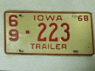 1968 Iowa Montgomery County Trailer License Plate 69-223