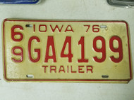 1976 Iowa Montgomery County Trailer License Plate 69 GA4199