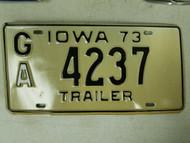 1973 Iowa Trailer License Plate GA 4237