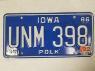 1986 Iowa Polk County License Plate UNM 398