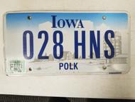 2001 Iowa Polk County License Plate 028 HNS