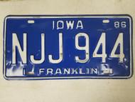 1986 Iowa Franklin County License Plate NJJ 944