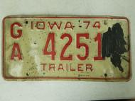 1974 Iowa License Plate GA 4251