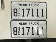 Nebraska Commercial Truck Hall County License Plate 8 17111 Pair