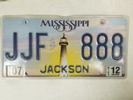 2012 Mississippi Jackson County License Plate JJF 888 Triple Eight