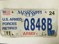 2011 Mississippi US Armed Forces Retired Army License Plate Q848B