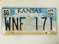 2009 Kansas Sedgwick County License Plate WNF 171