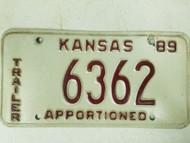 1989 Kansas Trailer License Plate 6362