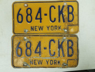 New York License Plate 684-CKB Pair