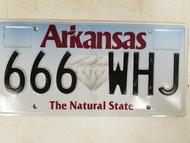Arkansas The Natural State License Plate 666 WHJ Satan Devil