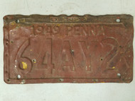1949 Pennsylvania License Plate 64AY2