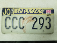 1994 Kansas Johnson County License Plate CCC 293 Triple C