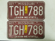 1995 Missouri Show-Me State License Plate TGH 788 Pair