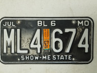 1997 Missouri Show-Me State License Plate ML4 674