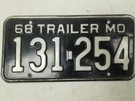 1968 Missouri Show-Me State License Plate 131-254