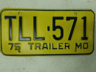 1975 Missouri Trailer License Plate TLL-571
