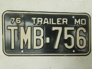 1976 Missouri Trailer License Plate TMB-756
