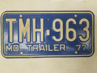 1977 Missouri Trailer License Plate TMH-963
