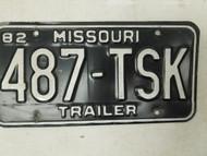 1982 Missouri Trailer License Plate 487-TSK