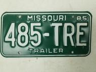1985 Missouri Trailer License Plate 485-TRE