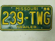 1986 Missouri Trailer License Plate 239-TWG