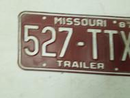 1987 Missouri Trailer License Plate 527-TTX