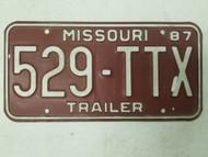 1987 Missouri Trailer License Plate 529-TTX