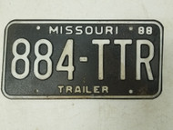 1988 Missouri Trailer License Plate 884-TTR