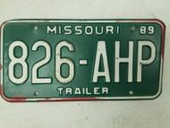 1989 Missouri Trailer License Plate 826-AHP