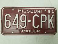 1991 Missouri Trailer License Plate 649-CPK