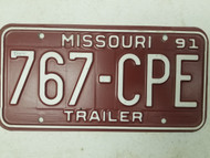 1991 Missouri Trailer License Plate 767-CPE