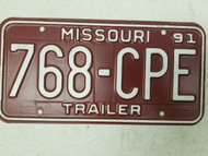 1991 Missouri Trailer License Plate 768-CPE