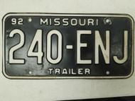 1992 Missouri Trailer License Plate 240-ENJ
