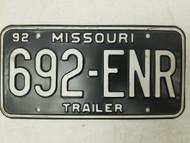 1992 Missouri Trailer License Plate 692-ENR