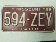 1998 Missouri Trailer License Plate 594-ZEY