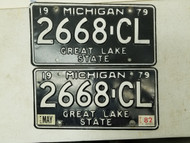 1979 (1982 Tag) Michigan Great Lake State License Plate 2668-CL Pair