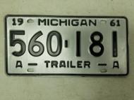 1961 Michigan Trailer License Plate 560-174