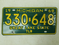 1968 Michigan Great Lake State Trailer License Plate 330-648