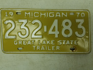 1970 Michigan Great Lake State Trailer License Plate 232-483