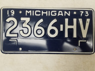 1973 Michigan License Plate 2366-HV