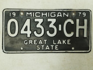 1979 Michigan Great Lake State License Plate 0433-CH