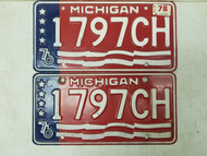 1976 Michigan License Plate 1797CH Pair