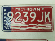 1976 Michigan License Plate 9239 JK