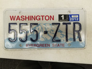 2012 Washington Evergreen State License Plate 555-ZTR