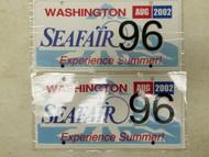 2002 Washington Seafair Experience Summer! License Plate 96 Pair