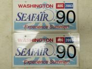 2003 Washington Seafair Experience Summer! License Plate 90 Pair