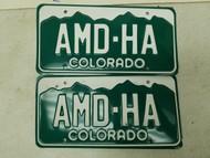 Colorado Denver County License Plate AMD-HA Pair
